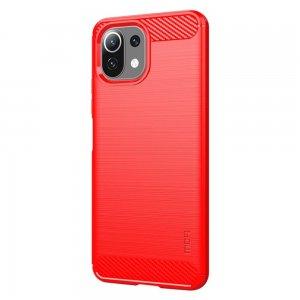 Carbon Силиконовый матовый чехол для Xiaomi Mi 11 Lite - Красный
