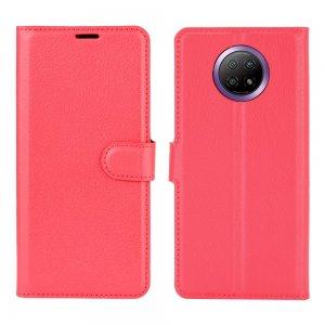 Чехол книжка для Xiaomi Redmi Note 9T отделения для карт и подставка Красный