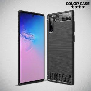 Carbon Силиконовый матовый чехол для Samsung Galaxy Note 10 - Черный цвет