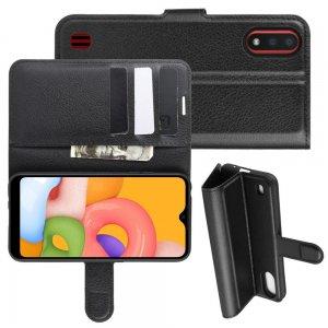 Чехол книжка кошелек с отделениями для карт и подставкой для Samsung Galaxy A01 - Черный