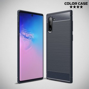 Carbon Силиконовый матовый чехол для Samsung Galaxy Note 10 - Синий цвет