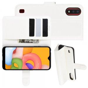 Чехол книжка для Samsung Galaxy A01 с отделениями для карт и подставкой Белый