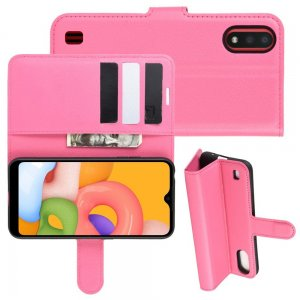 Чехол книжка кошелек с отделениями для карт и подставкой для Samsung Galaxy A01 - Светло-Розовый