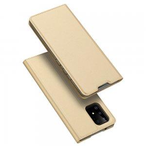 Dux Ducis чехол книжка для Samsung Galaxy S10 Lite с магнитом и отделением для карты - Золотой