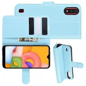 Чехол книжка для Samsung Galaxy A01 с отделениями для карт и подставкой Синий