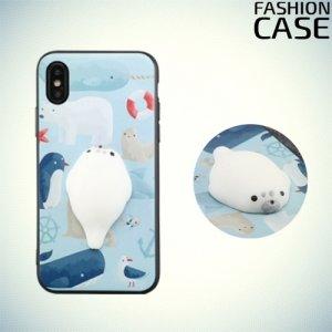 3D силиконовый чехол антистресс для iPhone Xs / X - Морской котик