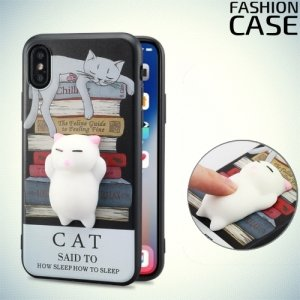 3D силиконовый чехол антистресс для iPhone Xs / X - Спящий котик