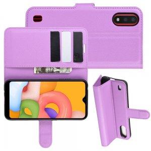 Чехол книжка для Samsung Galaxy A01 с отделениями для карт и подставкой Фиолетовый