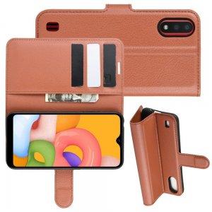 Чехол книжка кошелек с отделениями для карт и подставкой для Samsung Galaxy A01 - Коричневый