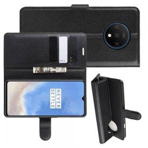 Чехол книжка кошелек с подставкой и отделениями для карт для OnePlus 7T - Черный