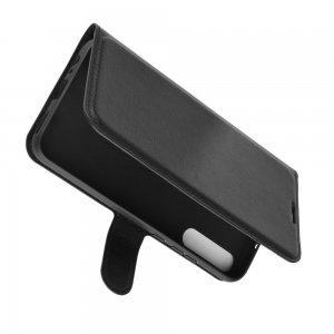 Чехол книжка для Huawei P40 lite E отделения для карт и подставка Черный