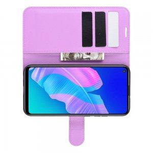 Чехол книжка для Huawei P40 lite E отделения для карт и подставка Фиолетовый цвет