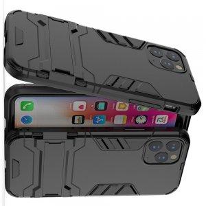 Hybrid Armor Противоударный защитный двухслойный чехол с подставкой держателем для iPhone 11 Pro Max Черный