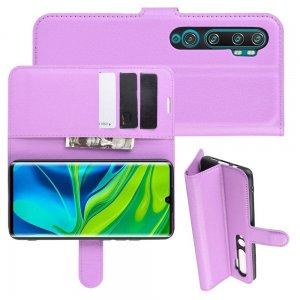 Чехол книжка кошелек с отделениями для карт и подставкой для Xiaomi Mi Note 10 - Фиолетовый