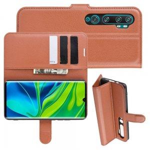 Чехол книжка кошелек с отделениями для карт и подставкой для Xiaomi Mi Note 10 - Коричневый