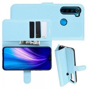 Чехол книжка кошелек с отделениями для карт и подставкой для Xiaomi Redmi Note 8T - Синий