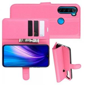 Чехол книжка кошелек с отделениями для карт и подставкой для Xiaomi Redmi Note 8T - Светло-Розовый