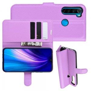 Чехол книжка кошелек с отделениями для карт и подставкой для Xiaomi Redmi Note 8T - Фиолетовый
