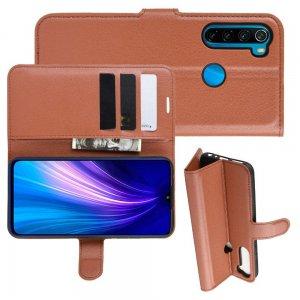 Чехол книжка кошелек с отделениями для карт и подставкой для Xiaomi Redmi Note 8T - Коричневый