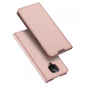 Dux Ducis чехол книжка для Xiaomi Redmi Note 9 Pro (9S,9 Pro Max) с магнитом и отделением для карты - Розовый