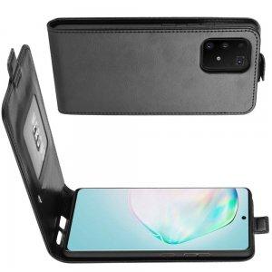 Флип откидывание вниз чехол книжка вертикальная для Samsung Galaxy S10 Lite - Черный