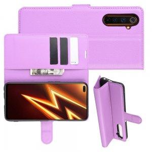 Чехол книжка для Realme 6 Pro отделения для карт и подставка Фиолетовый