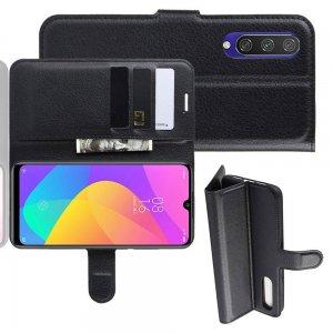 Чехол книжка кошелек с отделениями для карт и подставкой для Xiaomi Mi A3 - Черный
