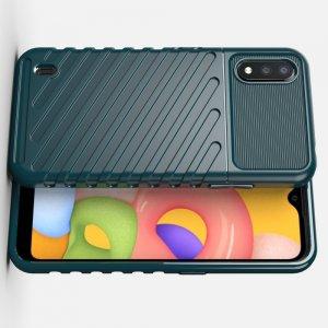 AirBags Case противоударный силиконовый чехол с усиленной защитой для Samsung Galaxy A01 Зеленый