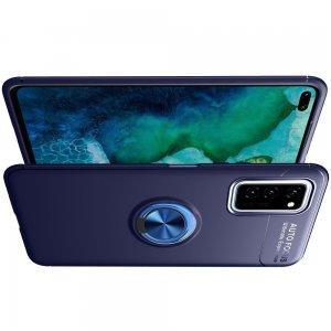 ArmaRing Двухкомпонентный чехол для Huawei Honor View 30 / View 30 Pro с кольцом для магнитного автомобильного держателя - Синий