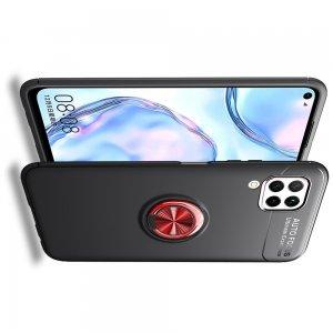 ArmaRing Двухкомпонентный чехол для Huawei P40 Lite с кольцом для магнитного автомобильного держателя - Красный / Черный