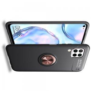 ArmaRing Двухкомпонентный чехол для Huawei P40 Lite с кольцом для магнитного автомобильного держателя - Розовое Золото / Черный