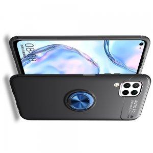 ArmaRing Двухкомпонентный чехол для Huawei P40 Lite с кольцом для магнитного автомобильного держателя - Синий / Черный