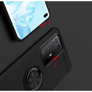 ArmaRing Двухкомпонентный чехол для Huawei P40 Pro+ / Pro Plus с кольцом для магнитного автомобильного держателя - Красный / Черный