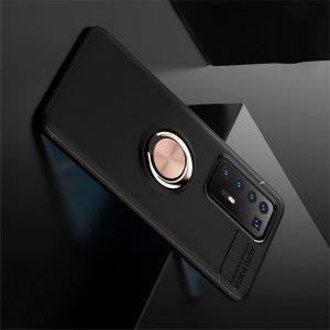 ArmaRing Двухкомпонентный чехол для Huawei P40 Pro+ / Pro Plus с кольцом для магнитного автомобильного держателя - Розовое Золото / Черный