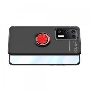 ArmaRing Двухкомпонентный чехол для Huawei P40 с кольцом для магнитного автомобильного держателя - Красный / Черный