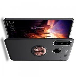 ArmaRing Двухкомпонентный чехол для Huawei Y6p с кольцом для магнитного автомобильного держателя - Розовое Золото / Черный