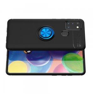 ArmaRing Двухкомпонентный чехол для Samsung Galaxy A21s с кольцом для магнитного автомобильного держателя - Синий / Черный