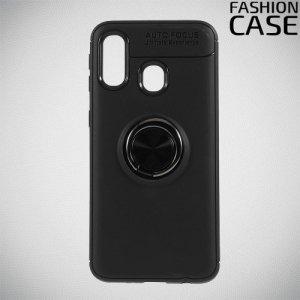ArmaRing Двухкомпонентный чехол для Samsung Galaxy A40 с кольцом для магнитного автомобильного держателя - Черный