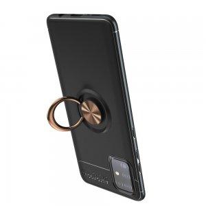 ArmaRing Двухкомпонентный чехол для Samsung Galaxy A51 с кольцом для магнитного автомобильного держателя - Розовое Золото / Черный
