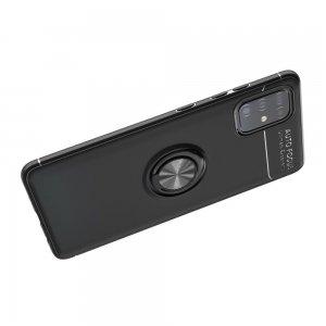 ArmaRing Двухкомпонентный чехол для Samsung Galaxy A51 с кольцом для магнитного автомобильного держателя - Серебро / Черный