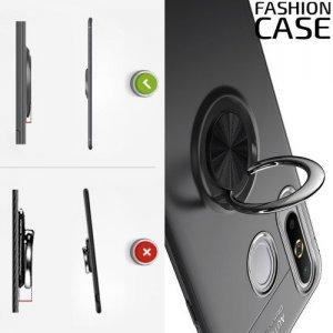 ArmaRing Двухкомпонентный чехол для Samsung Galaxy A8s с кольцом для магнитного автомобильного держателя - Черный
