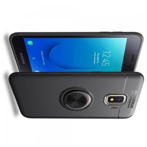 ArmaRing Двухкомпонентный чехол для Samsung Galaxy J2 Core (2020) с кольцом для магнитного автомобильного держателя - Черный