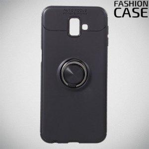 ArmaRing Двухкомпонентный чехол для Samsung Galaxy J6 Plus с кольцом для магнитного автомобильного держателя - Черный