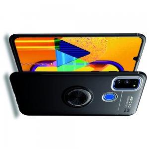 ArmaRing Двухкомпонентный чехол для Samsung Galaxy M30s с кольцом для магнитного автомобильного держателя - Черный