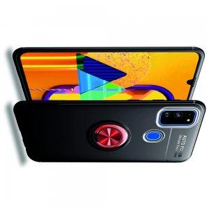 ArmaRing Двухкомпонентный чехол для Samsung Galaxy M30s с кольцом для магнитного автомобильного держателя - Красный / Черный