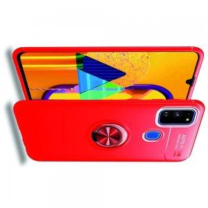 ArmaRing Двухкомпонентный чехол для Samsung Galaxy M30s с кольцом для магнитного автомобильного держателя - Красный