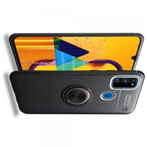 ArmaRing Двухкомпонентный чехол для Samsung Galaxy M31 с кольцом для магнитного автомобильного держателя - Черный