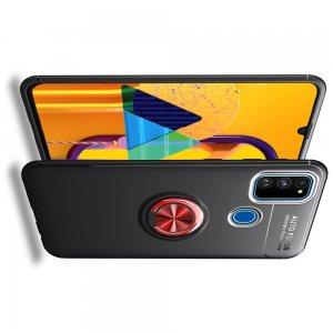 ArmaRing Двухкомпонентный чехол для Samsung Galaxy M31 с кольцом для магнитного автомобильного держателя - Красный / Черный
