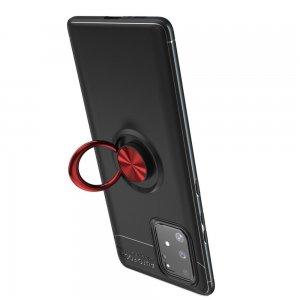 ArmaRing Двухкомпонентный чехол для Samsung Galaxy S10 Lite с кольцом для магнитного автомобильного держателя - Красный / Черный