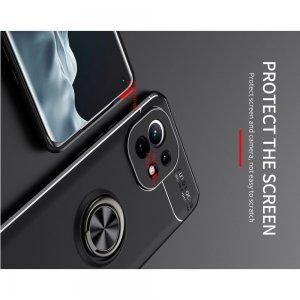 ArmaRing Двухкомпонентный чехол для Xiaomi Mi 11 с кольцом для магнитного автомобильного держателя - Черный